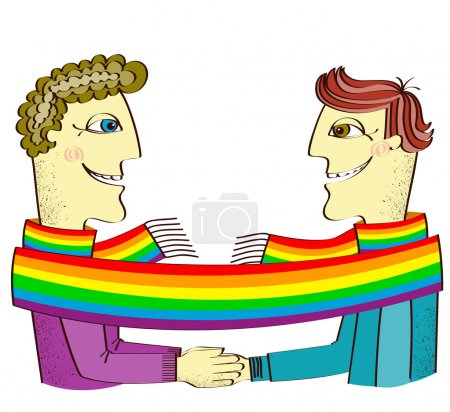 Постер, плакат: Happy gays couple with hands together Vector cartoons image isol, холст на подрамнике