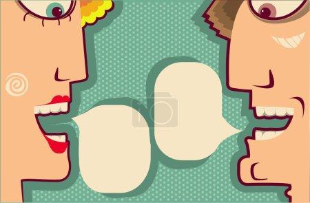 Постер, плакат: Faces Speaking and bubbles for text Vector Cartoons for design, холст на подрамнике