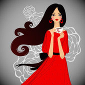Girl with cup of tea on floral background Vector illustration