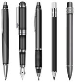 Set of black pens and pencils isolated on white vector illustration