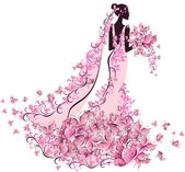 Bride in a dress decorated with flowers and butterflies