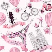 Modello senza saldatura simboli di Parigi. viaggio romantico a Parigi. Vector