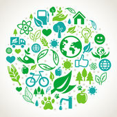 Vector ecology concept - round design element made from icons and signs