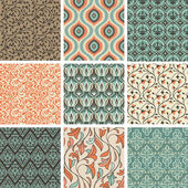 Vector set with vintage seamless patterns - abstract background in flat retro style