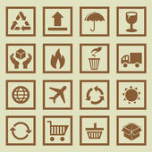 Vector set of package signs and symbols