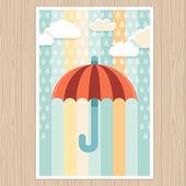 Napernyő, eső - lapos stílusú illusztráció