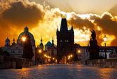 Sunrise over Prague - look from Charles (Karluv) bridge