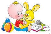 Aranyos szőke baba egy gyerekszoba