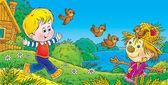 Fiú, fut, és a madarak üldözik