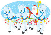 Grandfather Frost or Santa Claus driving in his sleigh pulled by three white horses