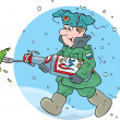 Постер, плакат: Soldier marching through the snow with a pickle