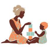 Bella silhouette di madre e bambino, giocare con i giocattoli. Happ
