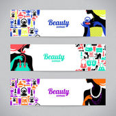 Banners with stylish beautiful shopping woman silhouette and fashion icons Template design cards