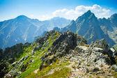 Rocky mountains view seen from Lomnicke sedlo in High Tatras, Sl