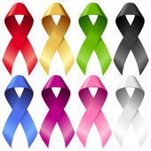 Vector breast ribbons set Red yellow green blue purple pink and black bands isolated on white background