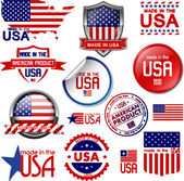 Made in the USA Set of vector graphic icons and labels