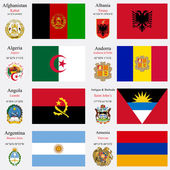 World flags of Afghanistan Albania Algeria Andorra Angola Antigua and Barbuda Argentina and Armenia with capitals geographic coordinates and coat of arms vector art illustration