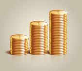Koncept úspěchu v podnikání s hromadou zlatých mincí