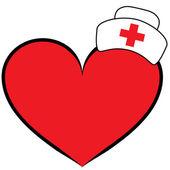 Nurse cap on heart