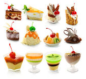 Collection of delicous dessert isolated on white