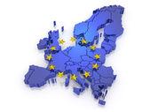 Európa háromdimenziós térképén