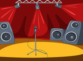 Rock&Roll Stage with Musical and Light Equipment Vector Cartoon Background