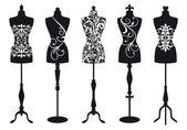 Set of stylish fashion dress forms vector illustration