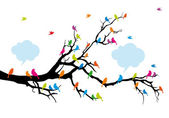 Colorful birds on tree branch vector background illustration