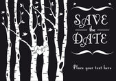 Wedding invitation with birch trees birds and heart vector background