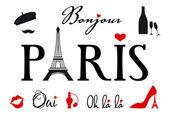 Parigi con la torre eiffel, set di elementi di disegno vettoriale