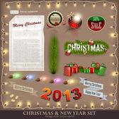 Vánoční dekorace kolekce. sada kaligrafických a typogra