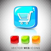 Glossy 3D web 20 shopping cart symbol icon set EPS 10