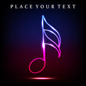 Colorful musical note with neon effect EPS 10