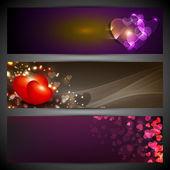 Láska, záhlaví stránky nebo banner sada s srdce na lesklé poza
