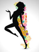 Happy Women's Day greeting card or background with silhouette of a happy women on floral decorative background