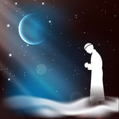 Muslim man in traditional outfits praying (reading Namaz Islamic Prayer) on shiny moon and stars night background