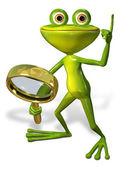 Zelená žába s lupy