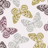 Modello senza saldatura vettoriale con farfalle colorate