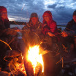Постер, плакат: Tourists are heated at a fire at night