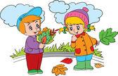 Chlapec a dívka s listy