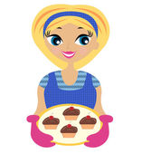 Young woman with cake in handvector illustration