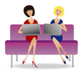 Two young woman with notebook sit on sofa vector illustration