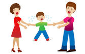 Parents divide a child by a white background  vector  illustration