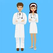 2 つの若い医師男と女の青い背景に