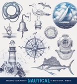 Nautical hand drawn vector set (yacht and lighthouse with clipping mask)