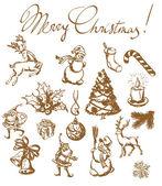 Christmas vintage sketches Hand drown design elements vector set