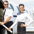 Постер, плакат: Pilot and Stewardess on Private Jet