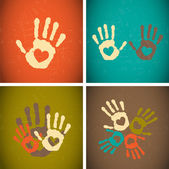 Impronte di mani di stile vintage retrò amore vettoriale sfondo