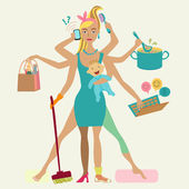 Super mother with newborn baby - cleaning shopping talking by phone coocking working combing hair making sport and doing pedicure at the same time Multi super wife beautiful lady