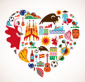 Spain Love - heart with set of vector illustration